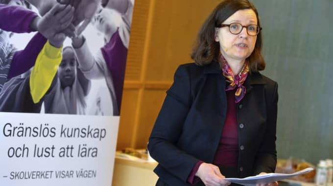 Skolverkets generaldirektör Anna Ekström under måndagens presskonferens. Foto: Jonas Ekströmer/Tt