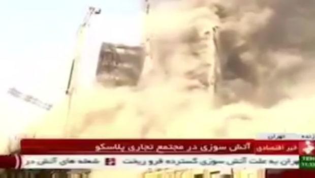 Skyskrapa i Teheran kollapsade efter brand