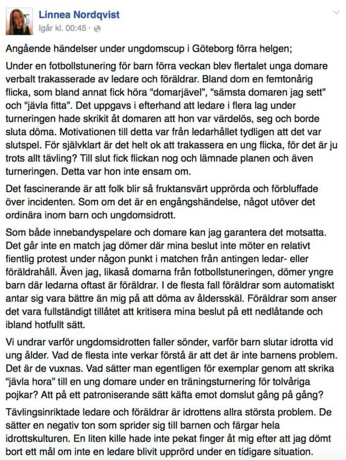 Linnea Nordqvists inlägg på Facebook har delats 460 gånger.
