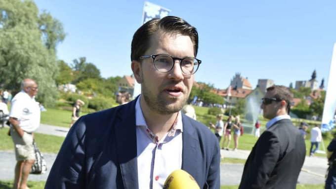 Jimmie Åkesson slog i Almedalen fast att målet är att bli Sveriges största parti. Och SD fortsätter gå framåt i Demoskops julimätning. Foto: Anna-Karin Nilsson
