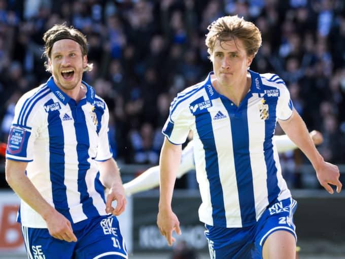 Gustav Svensson och Thomas Rogne firar efter 1-1 under en fotbollsmatch i Allsvenskan mellan Blåvitt och Åtvidaberg i fjol. Foto: Carl Sandin / BILDBYRÅN