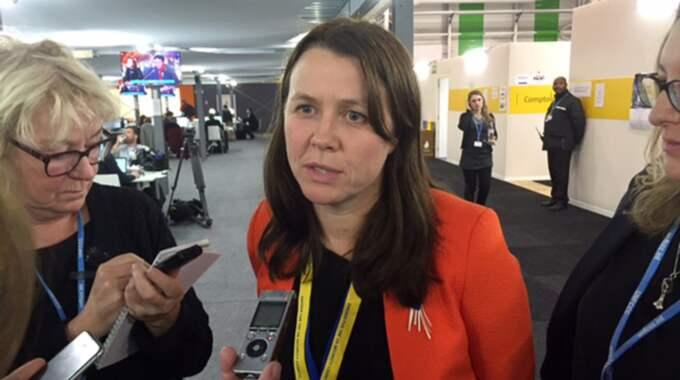 Klimatminister Åsa Romson har samlat partiet till dialog om migrationspolitiken. Bilden är från ett tidigare tillfälle. Foto: Peter Wallberg/Tt