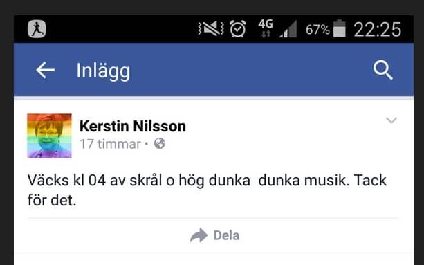 Riksdagsledamoten Kerstin Nilsson (S) gillade inte sin grannes festande. Foto: Facebook