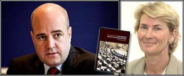 """Den förra moderata riksdagsledamoten Anne-Marie Pålsson sågar både Moderaterna och partiledaren fredrik Reinfeldt i sin nya bok Knapptryckarkompaniet. """"Vi ledamöter fungerar mest som statister, som något vackert att visa upp när demokratin behöver ett ansikte"""", skriver hon. Foto: STELLA PICTURES Obs: Montage"""