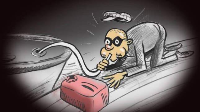 Den kände illustratören Lasse Björk har illustrerat hur det gick till när båttjuven slangade fel