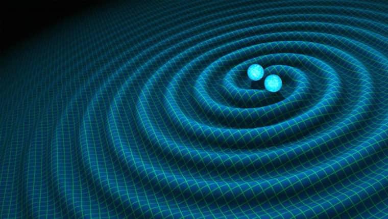 En visualiserad bild av gravitationsvågorna. Foto: TT