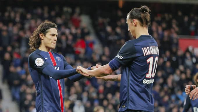 Edinson Cavani och Zlatan Ibrahimovic. Foto: Imago Sportfotodienst