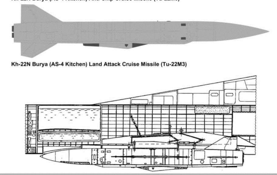 Bombplanet TU-22M3 är utrustat för att bära kärnvapenbestyckade kryssningsrobotar bland annat av typen AS-4 Kitchen, vilket är Natos beteckning. I Ryssland heter samma kryssningsrobot Kh-22. Den utvecklades på 60-talet men har senare gjorts i nya versioner och har en maxhastighet på upp till 5 mach.