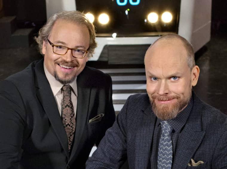"""Fredrik Lindström och Kristian Luuk i """"På spåret"""". Foto: Bo Håkansson"""