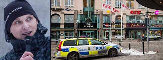 Bombhot. GT:s redaktion vid Kungstorget i Göteborg utrymdes på torsdagen efter att man hittat ett paket utanför redaktionen. Kamil Ryba, 29, (tv) som i slutet på förra året hotade GT, har tagit på sig ansvaret för att ha lämnat paketet.
