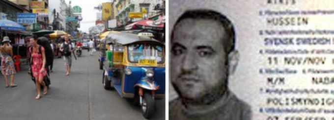 Hussein Atris, 47, som tidigare bott i Göteborgsområdet misstänks för terrorplaner i Bangkok. Han greps med ett svenskt pass.