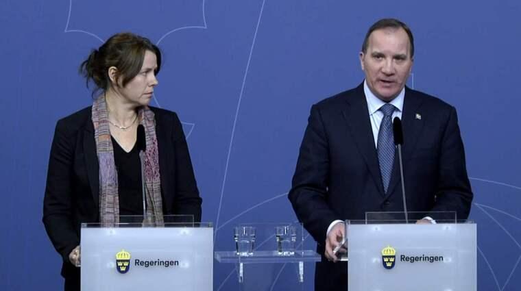 Åsa Romson och Stefan Löfven vid presskonferensen på tisdagen. Foto: Janerik Henriksson/TT