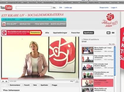 STÖRST PÅ NÄTET. På Youtube är S överlägset störst av de svenska partierna med nästan en miljon visningar och 300 unika filmer. På bilden Ylva Johansson, riksdagsledamot för Socialdemokraterna.