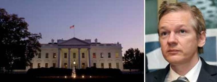 Vita huset i Washington och Wikileaksgrundare Julian Assange. Foto: AP