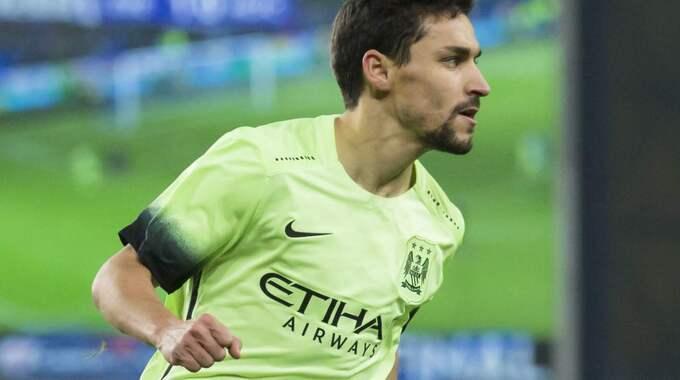 Jesus Navas kvitterade för Manchester City i slutet – men hans 1–1-mål räckte inte. Foto: Jon Super