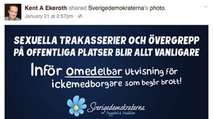 Ingen blir ens förvånad längre över kvinnohatet i partiet – samtidigt går Sverigedemokraterna ut i en kampanj MOT sexuella trakasserier. Foto: Facebook/Skärmdump.