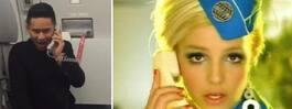 Flygvärdinnans Britney Spears-parodi gör succé