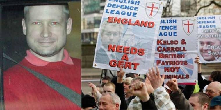 Enligt den brittiska tidningen The Telegraph har Behring Breivik haft omfattande kontakt med EDL. Foto: Scanpix