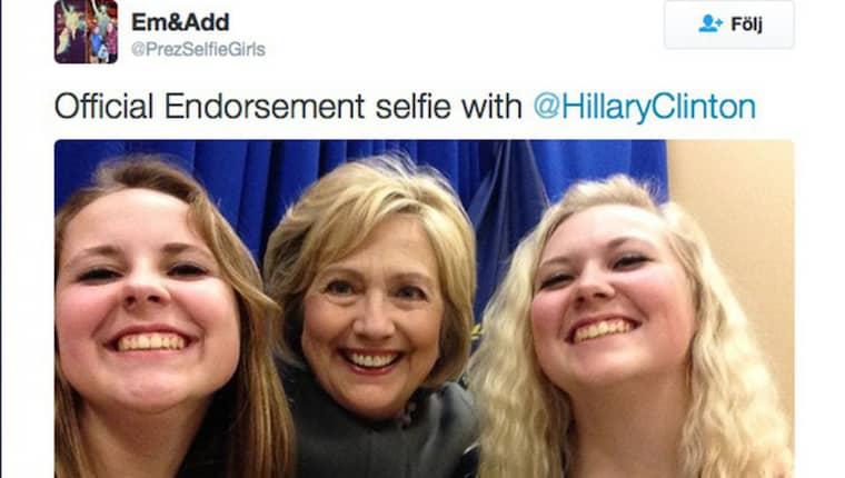 Både doldisar som nu hoppat av, som den före detta Marylandguvernören Martin O'Malley, till storheter som Donald Trump och Hillary Clinton, har poserat med systrarna framför kameran. Foto: Skärmdump från Addy och Emma Nozells Twitter