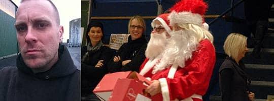 Jonas Pettersson är upprörd över tomteförbudet på Alvikenskolan i Bromölla. Bilden på tomtarna är tagen vid ett annat tillfälle. Foto: Privat och Ulf Ryd