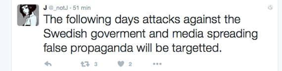 Flera medier, bland annat Aftonbladet, SVT och TT, berättar att den här tweeten spreds innan attacken. Foto: Twitter.com