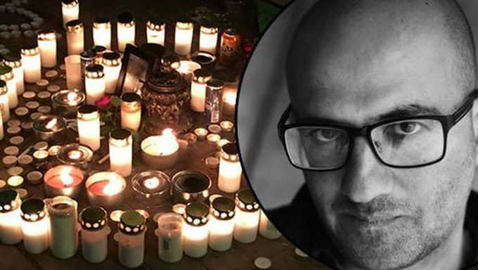 TILL MINNE. Natten till julafton höggs den 20-årige musikern Aiman Qabli till döds i Alby i södra Stockholm. Författaren Duraid Al-Khamisi (infällda bilden) skriver om en vinter i våldets tecken. Foto: Jesper Lindqvist