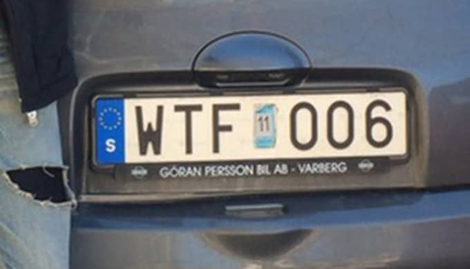 Registreringsnumret börjar nämligen med WTF. Foto: Privat