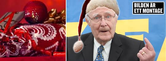 Ingvar Kamprad, 87, trumfar många företagsjulklappar i år - de anställda får dela på 950 miljoner kronor – som ska utbetalas i samband med pensionen. Obs! Bilden är ett montage.