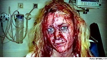 Linda slogs blodig av våldtäktsmännen.