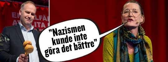 Laddat tal. Skådespelaren Ann Petrén framförde en text av Kerstin Thorvall under Vänsterpartiets kongress i går. Foto: Sven Lindwall