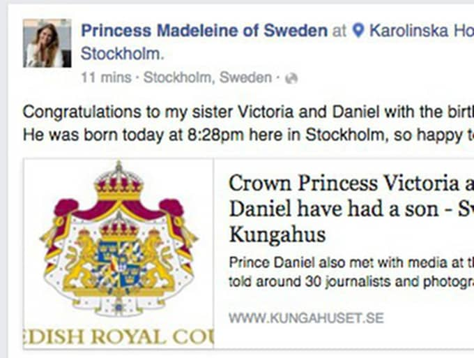 Prinsessan Madeleine lägger på onsdagskvällen ut ett meddelande på Facebook där hon gratulerar sin syster till familjens andra barn.