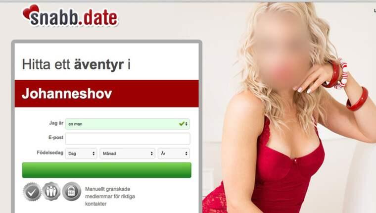 """STEG 1. Sajten lockar till registrering med en bild en en blond kvinna i röd klänning, och en rad bilder på flera kvinnor som påstås vara registrerade med egna konton. Användaren får fylla i namn, mejl och födelsedatum. """"Registra gratis"""", står det på en blinkande grön knapp. Foto: Skärmdump"""