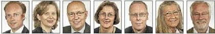 Karl Sigfrid. Margareta Cederfelt. Ulf Berg. Lena Asplund. Staffan Appelros. Lisbeth Grönfeldt Bergman. Göran Montan.