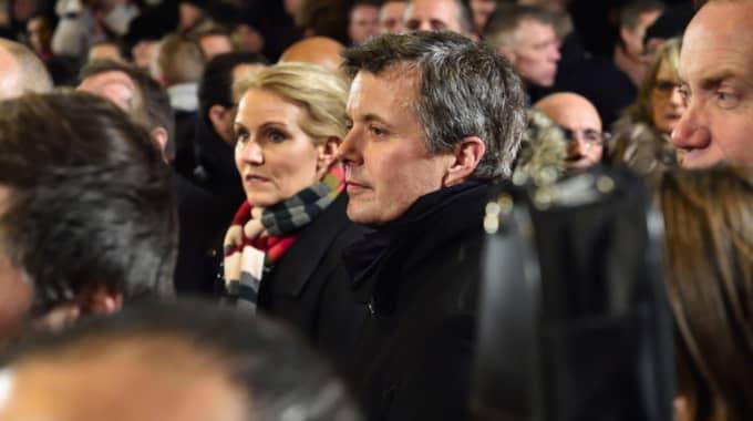 Danska statsministern Helle Thorning-Schmidt och Kronprins Frederik av Danmark på manifestationen. Foto: Christian Örnberg