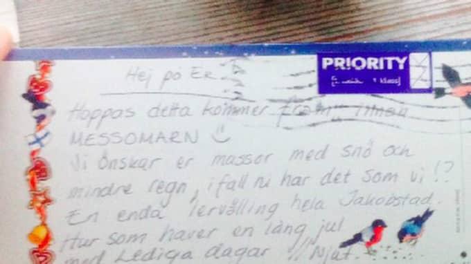 Det senaste brevet han fått från familjen – som nu säger att de kommer att fortsätta skicka julhälsningar till honom. Foto: Privat