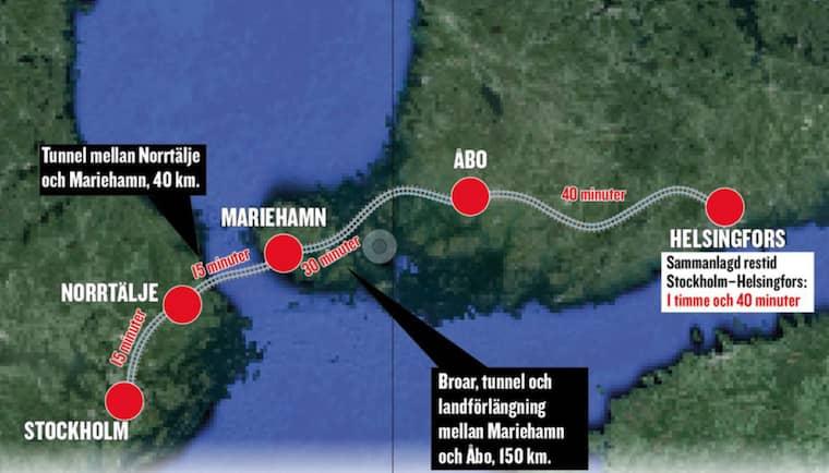 Om Hyperloopen blir verklighet kan man ta sig från Stockholm till Helsingfors i en timme och 40 minuter.