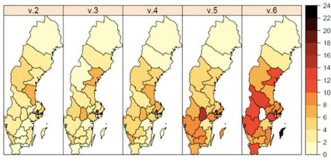 Här kan man följa influensans spridning över Sverige. Den visar på ett stort antal fall i södra Sverige. Färgerna ska jämföras med skalan intill som visar antal på laboratorier konstaterade fall per 100 000 invånare. Foto: Folkhälsomyndigheten