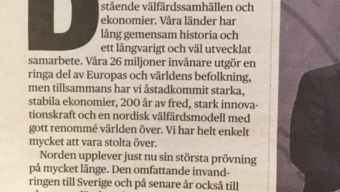 """Debattartikeln från DN – med den """"otydliga formuleringen"""". Foto: Dagens Nyheter"""