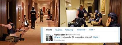 Efter flera dagar inomhus är journalisterna som varit fast på hotell Rixos i Tripoli ute.