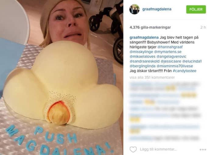 """""""Jag blev helt tagen på sängen!!! Babyshower! Med världens härligaste tjejer. Jag älskar tårtan"""", skriver Magdalena på Intagram. Foto: Instagram."""
