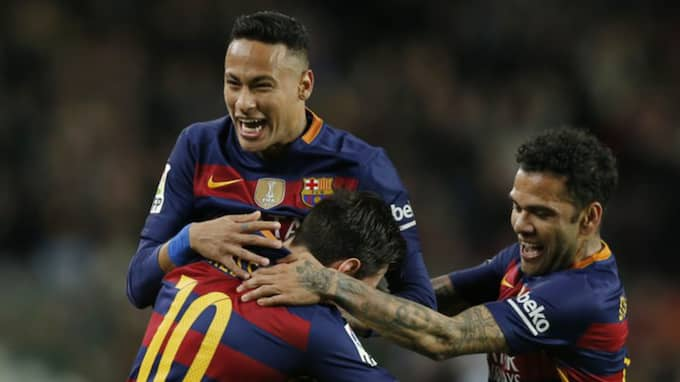 Neymar firar ett Barcelona-mål. Foto: Manu Fernandez