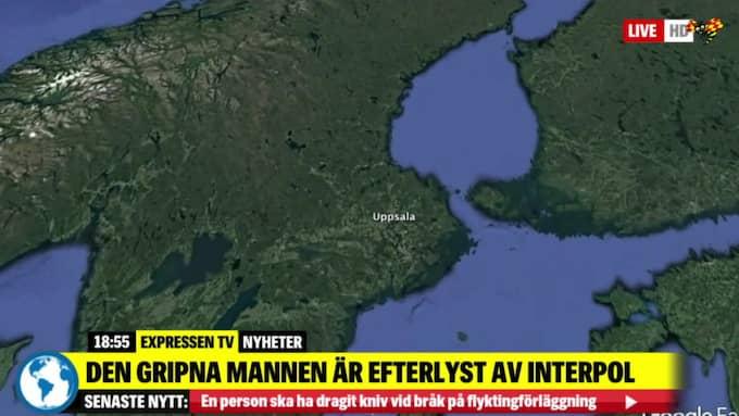 Mannen greps i Uppsalaområdet. Expressen TV rapporterar om gripandet. Foto: Expressen TV