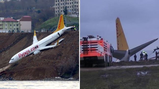 Sent på lördagen inträffade olyckan vid flygplatsen i hamnstaden Trabzon