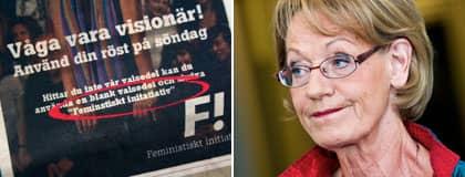 """DÅLIG DAG PÅ JOBBET. Feministiskt initiativ stavade sitt eget namn fel i partiets nya valannons. """"Vi sitter och jobbar på nätterna och då kan det också bli fel"""", säger Gudrun Schyman. Foto: Johanna Syrén och Christian Örnberg"""