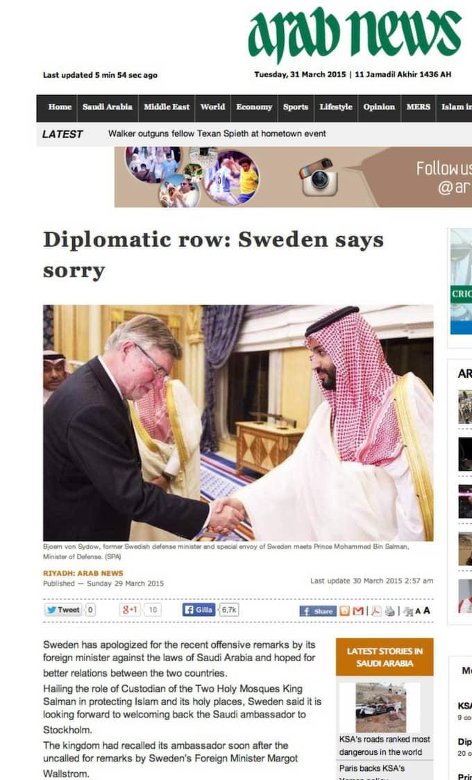 Saudiska medier har rapporterat att Sverige bad om ursäkt för Wallströms uttalanden.