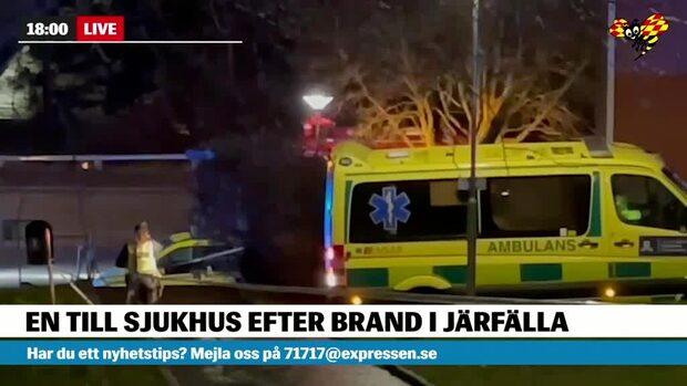 Explosion vid lägenhetsbrand i Järfälla i Stockholm
