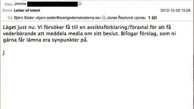 Jimmie Åkessons mejl.