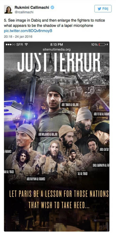 """""""Här visar IS kristallklart att detta inte bara är IS-insprierat, utan att det är IS som slår till på europeisk mark"""", skriver IS-experten på Twitter. Foto: Twitter"""