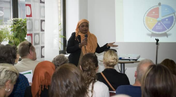 Qalinle Dayib på invigningen av Somali information and business centre i Malmö. Foto: SIBC