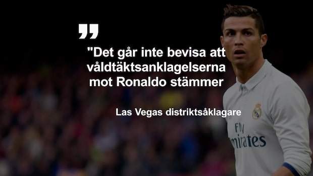 """Ronaldo åtalas inte för våldtäkt: """"Går inte att bevisa"""""""